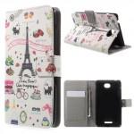 Koženkové pouzdro Wallet - Xperia E4 - Eiffelovka