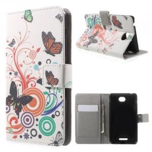 Koženkové pouzdro Wallet - Xperia E4 - Motýli 02