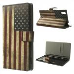 Koženkové pouzdro - Xperia T3 - vlajka USA