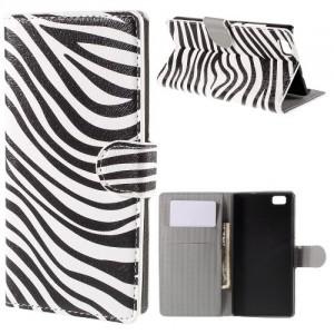 Koženkové pouzdro - Huawei P8 Lite - Zebra