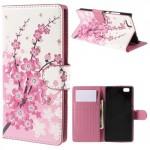 Koženkové pouzdro - Huawei P8 Lite - Květy 03