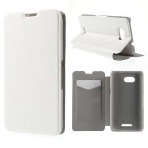 Koženkové pouzdro - Xperia E4g - Bílé lesklé