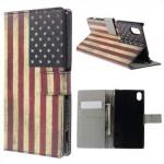 Koženkové pouzdro - Xperia M4 Aqua - Vlajka USA