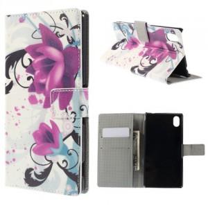 Koženkové pouzdro Sony Xperia M4 Aqua - Květy 02