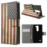 Koženkové knížkové pouzdro - LG Spirit - Vlajka USA