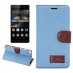 Knížkové pouzdro - Huawei P8 - jeans - světle modré