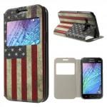 Tenké pouzdro S-view - Galaxy J1 - Vlajka USA
