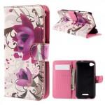Koženkové knížkové pouzdro - HTC Desire 320 - Květy 05