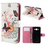 Koženkové knížkové pouzdro - Galaxy J5 - Motýli 03