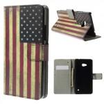 Koženkové knížkové pouzdro - Lumia 640 - Vlajka USA