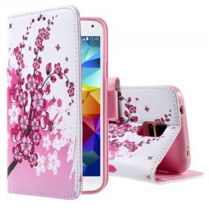 Koženkové pouzdro - Galaxy S5 i9600 - Květy 03