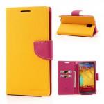 Pouzdro Fancy Diary - Galaxy Note 3 N9005 - žluté-fuchsia