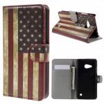 Koženkové knížkové pouzdro Lumia 550 - Vlajka USA