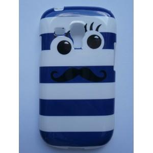 Sleva-Pouzdro/Obal  - Moustache s očima - modrý - Galaxy S3 Mini i8190