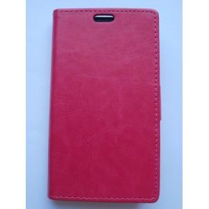 Sleva-Koženkové pouzdro Wallet - Xperia M2 - růžové lesklé