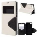 Knížkové pouzdro S-view - Xperia Z5 Compact - bílé-černé