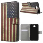 Koženkové knížkové pouzdro Lumia 650 - Vlajka USA