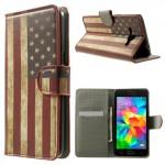 Koženkové knížkové pouzdro Galaxy Grand Prime - Vlajka USA 03