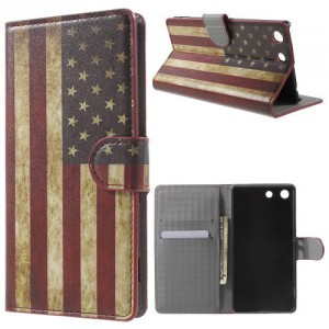 Koženkové pouzdro Xperia M5 - Vlajka USA
