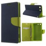 Pouzdro Fancy Diary Xperia M5 - tmavě modré-hráškové