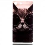 Pouzdro / Obal Xperia M5 - Kočka s brýlemi