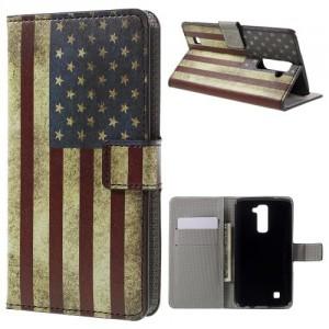 Koženkové pouzdro LG K10 - Vlajka USA