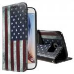 Koženkové knížkové pouzdro Galaxy S6 - Vlajka USA