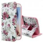 Koženkové knížkové pouzdro Galaxy S6 - Květy 02