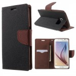 Pouzdro Fancy Diary Galaxy S6 - Černé-hnědé