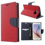 Pouzdro Fancy Diary Galaxy S6 - Červené-tmavě modré