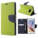 Pouzdro Fancy Diary Galaxy S6 - Zelené-tmavě modré