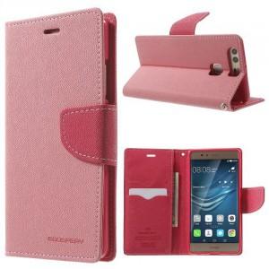 Pouzdro Fancy Diary Huawei P9 - růžové-červené