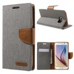 Pouzdro Canvas Diary Galaxy S6 - Šedé-hnědé
