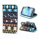 Koženkové pouzdro Wallet - Abstraktní vzor 06 - Galaxy S4 i9500