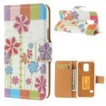 Koženkové pouzdro Wallet - Galaxy S5 Mini G800 - Květy 17