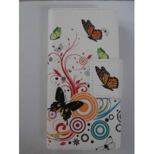 Sleva-Koženkové pouzdro Wallet - Motýli- Huawei P8