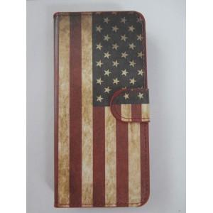 Sleva-Koženkové pouzdro Huawei Y6 - Vlajka USA