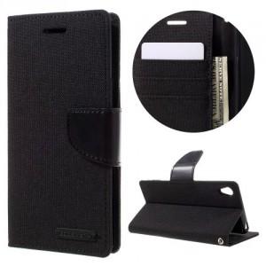 Pouzdro Canvas Diary Xperia XA - černé