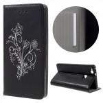 Koženkové pouzdro Huawei P9 Lite - Květy -černé