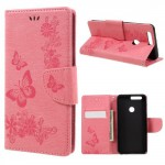 Koženkové pouzdro Honor 8 - růžové květy a motýli