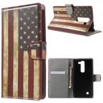 Koženkové pouzdro LG G4c / LG Magna - Vlajka USA