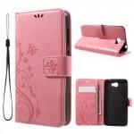 Koženkové pouzdro Huawei Y5 II -  Světle růžové květy a motýli