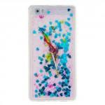Pouzdro / Obal Huawei P8 Lite - Modré tekuté třpytky - Peří
