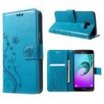 Koženkové pouzdro Galaxy A5 (2016) - modré květy