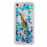 Pouzdro / Obal iPhone 5 / 5S / SE - Modré tekuté třpytky - Peří