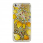 Pouzdro / Obal iPhone 5 / 5S / SE - Zlaté tekuté třpytky - Listy