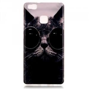 Pouzdro / Obal Huawei P9 Lite - Kočka s brýlemi