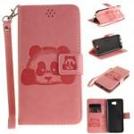 Koženkové pouzdro Huawei Y5 II -  Světle růžové - panda