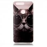Pouzdro na Honor 8 - Kočka s brýlemi