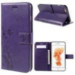Pouzdro MFashion iPhone 6 - květy a motýli - fialové